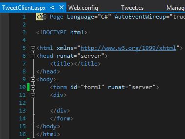 Tweet.WCFService.AJAX Project TweetClient.aspx Default Code Screen-shot