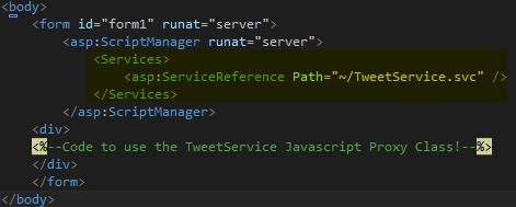 Tweet.WCFService.AJAX Project TweetClient.aspx with Script Manager Screen-shot