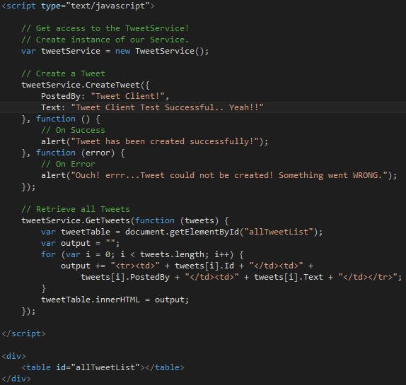 Tweet.WCFService.AJAX Project TweetClient.aspx Script Tag Code Screen-shot