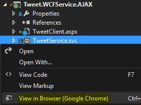 Tweet.WCFService.AJAX Project TweetService.svc run the service Screen-shot