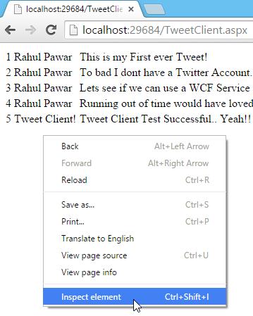 Tweet.WCFService.AJAX Project TweetClient.aspx Inspect Element Screen-shot