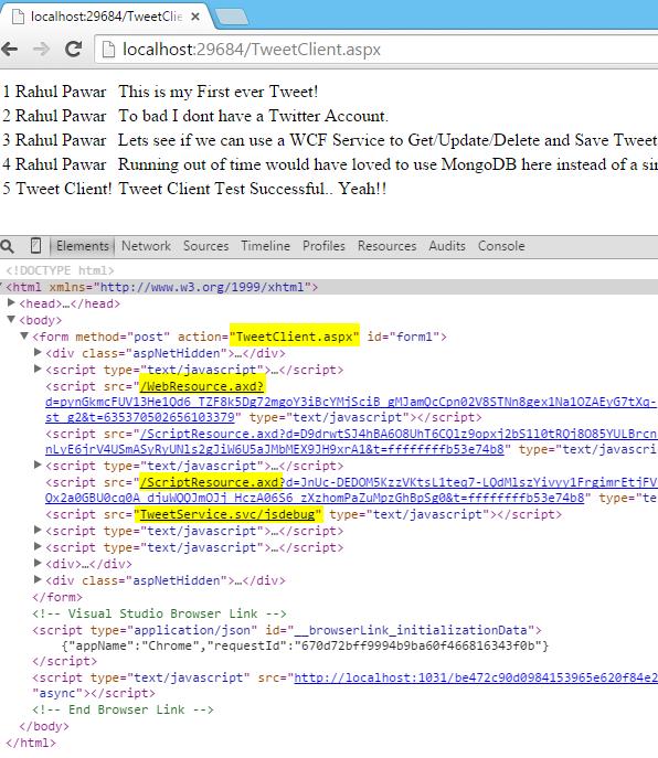 Tweet.WCFService.AJAX Project TweetClient.aspx Inspect Element Detail Screen-shot