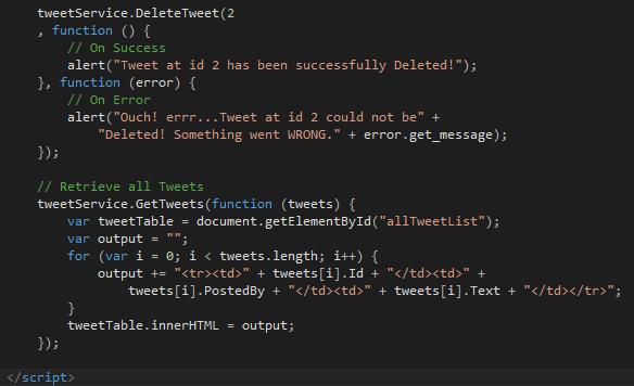 Tweet.WCFService.AJAX Project TweetClient.aspx DeleteTweet Screen-shot