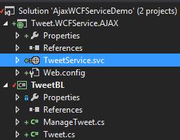 Tweet.WCFService.AJAX Added New AJAX Service Screen-shot