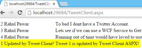 Tweet.WCFService.AJAX Project TweetClient.aspx UpdateTweet Result 1 Screen-shot