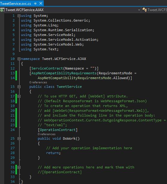 Tweet.WCFService.AJAX TweetService.svc templete file Screen-shot