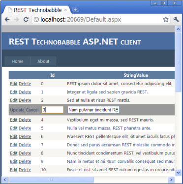 REST Technobabble web client snapshot
