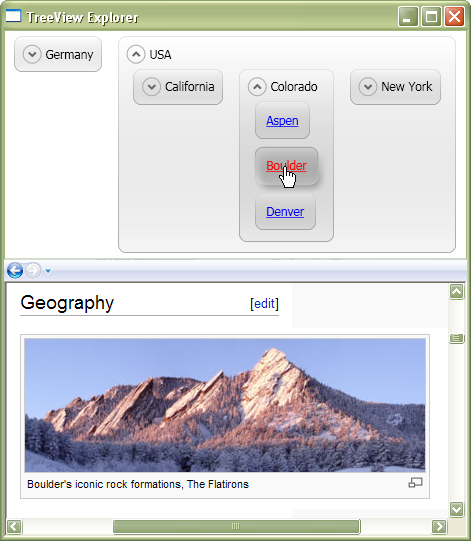 The TreeView with a layout customization in effect.