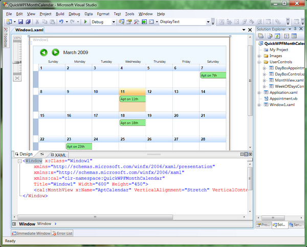Monthly Calendar Visual Basic : Quick and simple wpf month view calendar updated