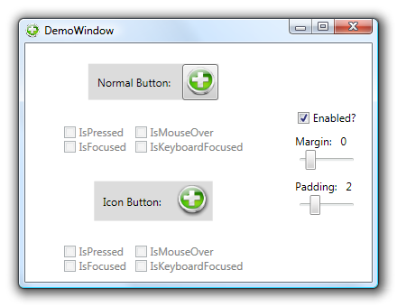 The demo application comparing a normal button with the IconButton