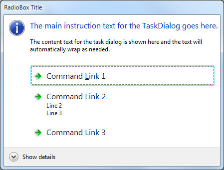Command link box emulated on Windows 7