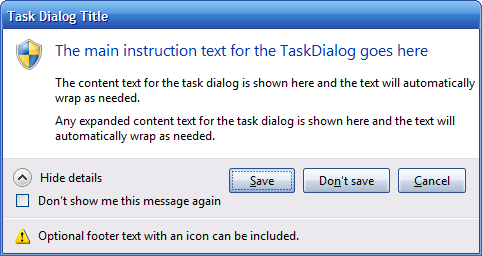 Emulated Task Dialog in Windows XP