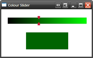 A screenshot of the Colour Slider application with a black to green gradient background