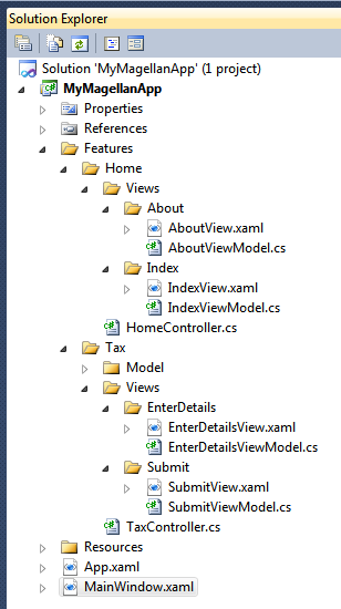A screenshot of the Visual Studio solution explorer