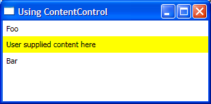 Screenshot of using ContentControl