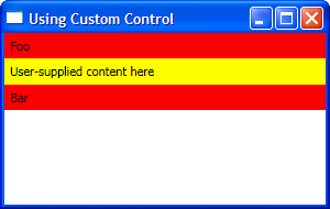 Screenshot of using custom control