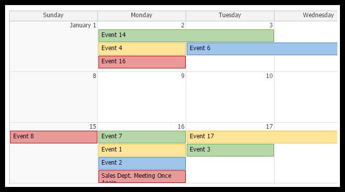 AJAX Monthly Event Calendar for ASP.NET MVC