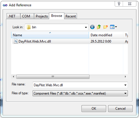 Add reference to DayPilot.Web.Mvc.dll