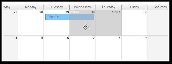 AJAX Monthly Event Calendar for ASP.NET MVC - Event Moving
