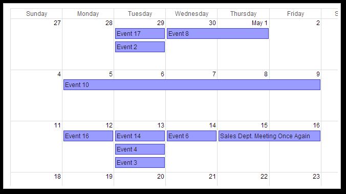 AJAX Monthly Event Calendar for ASP.NET MVC - Google-Like CSS Theme