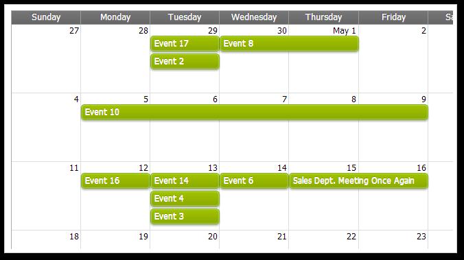 AJAX Monthly Event Calendar for ASP.NET MVC - Green CSS Theme