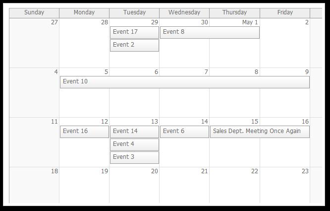AJAX Monthly Event Calendar for ASP.NET MVC and jQuery