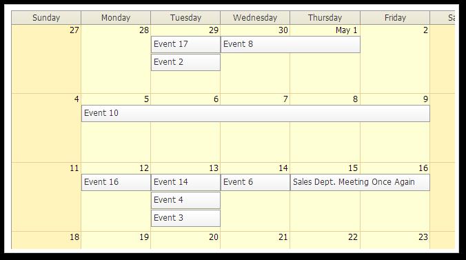 AJAX Monthly Event Calendar for ASP.NET MVC - Traditional CSS Theme