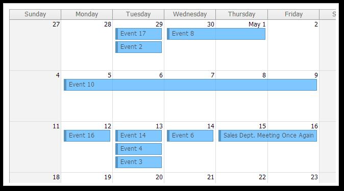 AJAX Monthly Event Calendar for ASP.NET MVC - Transparent CSS Theme