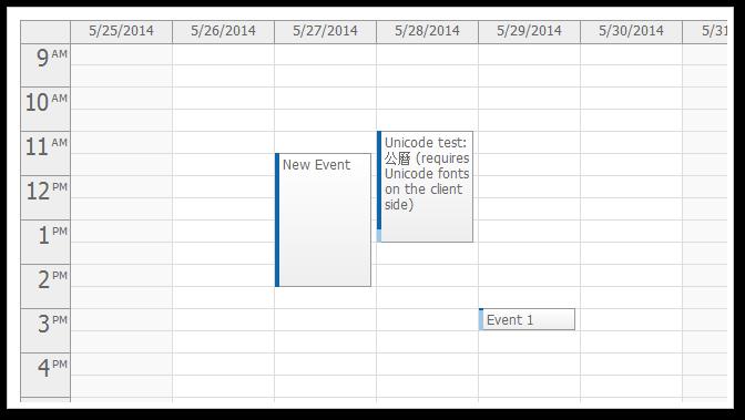 AJAX Weekly Event Calendar for ASP.NET MVC