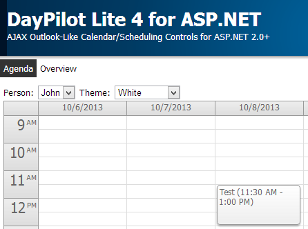 DayPilot Lite 4 Scheduling Project