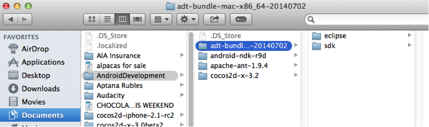 The location of the adt_bundle folder