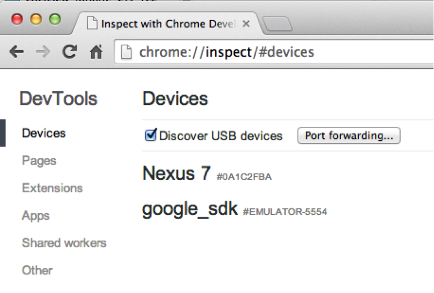 Results of browsing to Chrome:\\inspect/#devices