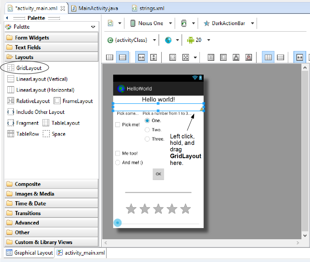 how to change android studio layout to linearlayout