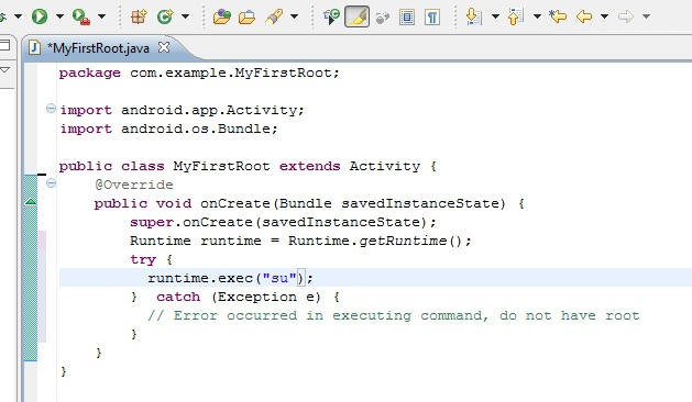 A screenshot of the root source code in Eclipse