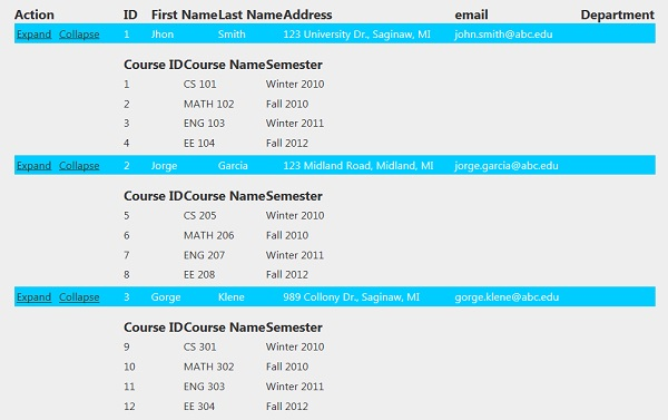 Drilldown hierarchical data using mvc and jquery codeproject for Hide tr in table