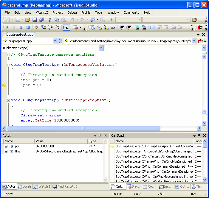 Minidump file in Visual Studio