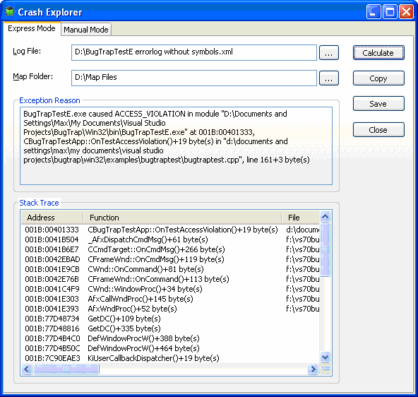 CrashExplorer restores function names and lines numbers from MAP or PDB file