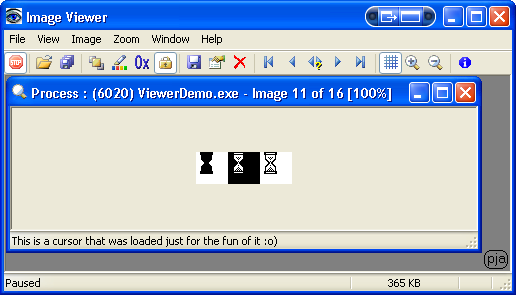 Image Viewer showing a cursor by using the ShowIcon() function