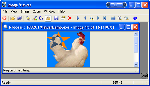 Image Viewer showing an HRGN region by inverting the colours of a bitmap