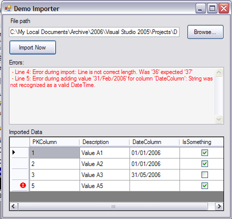 Screen shot of the form used by the user to import a file