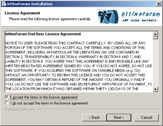 Screenshot of the Installer - License Agreement