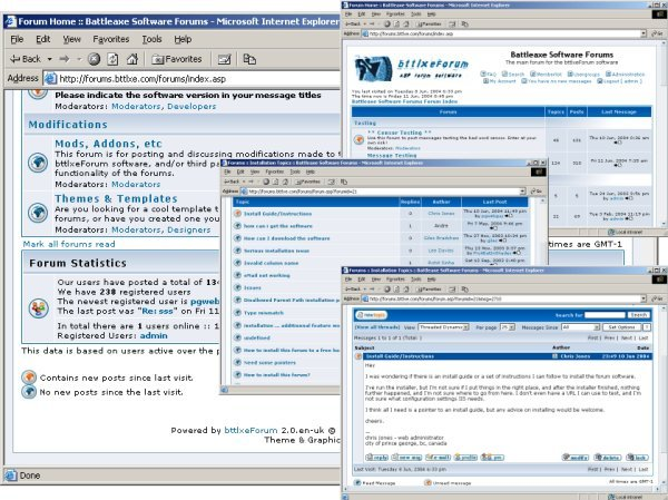 Screenshots of bttlxeForum in use