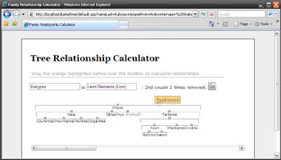 Family Tree Relationship Calculator Screenshot