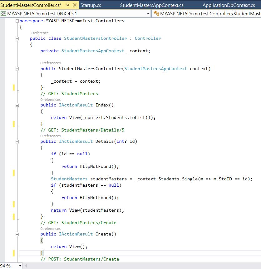 how to write asp.net controller code