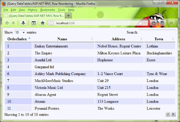 Table row drag and drop in asp net mvc jquery datatables for Html datatable