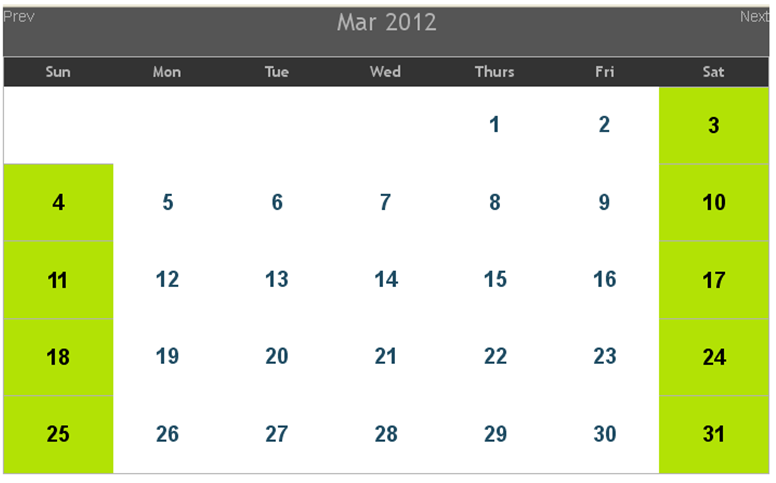 If calendar is customized to show data, for example insert simple ...