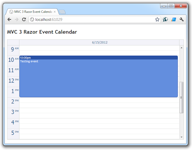 ASP.NET Event Calendar for ASP.NET MVC Day View