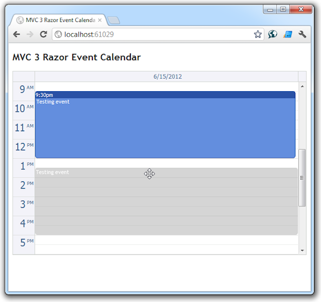 AJAX Event Calendar for ASP.NET MVC Drag&Drop