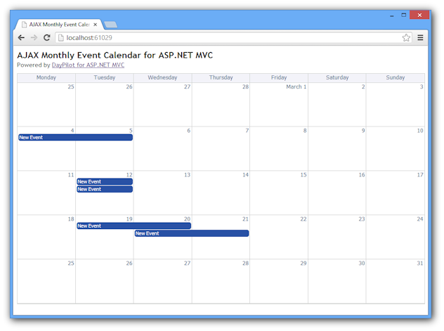 Monthly AJAX Event Calendar for ASP.NET MVC