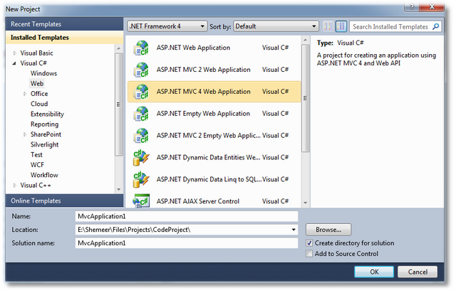 ASP.NET MVC 4 - Visual Studio 2010 SP 1 - Shemeer NS